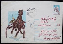 Romania 1968 Circulated Postal Stationery Entier Ganzsache Cugir - Bucarest Cheval Pferd Caballo Horse Racing Turf Sulky - Interi Postali