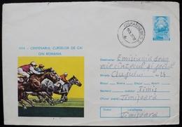 Romania 1975 Circulated Postal Stationery Entier Ganzsache Caransebes Cheval Pferd Caballo Horse Racing  Turf - Interi Postali