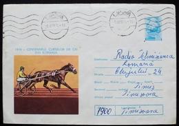 Romania 1975 Circulated Postal Stationery Entier Ganzsache Lipova Cheval Pferd Caballo Horse Racing  Turf Sulky - Interi Postali