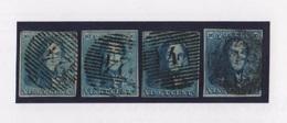 Belgique - N°2 - Epaulettes - 20c Bleu - 4 Nuances Differentes - 1849 Epaulettes