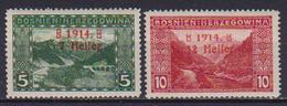BOSNIA EZERGOVINA 1914 FRANCOBOLLI SOPRASTAMPATI UNIF. 85-86 MLH VF - Bosnie-Herzegovine