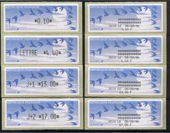 8 ATMs, LISA1, ENCRE NOIRE, 0.10/ LETTRE 4.40/ J+1 13.00/ J+2 17.00 Avec Reçus 8/03/96. PAPIER JUBERT BLEU FONCE. - 1990 «Oiseaux De Jubert»