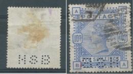 [46204]B/TB//O/Used-N° 88, 10s Bleu Perforé 'HSB', Petite Dent Courte Mais Bonne Pièce D'attente - 1840-1901 (Victoria)