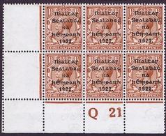 Ireland 1922 Thom Rialtas Black Overprint 1 1/2d Control Block Q21Perf Mint PO Of POSTAGE - 1922 Governo Provvisorio