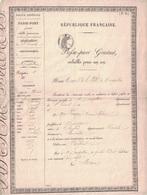 HERAULT - MONTPELLIER - PASSEPORT GRATUIT - REPUBLIQUE FRANCAISE - VALABLE 1 AN (P1). - Vieux Papiers