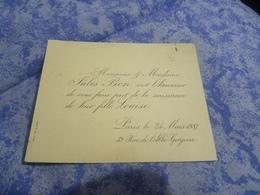 Faire-part  Naissance Madame Monsieur Jules BoN  Naissance De Leur Fille Louise Paris 24/3/1887 39 Rue L Abbe Grégoire - Birth & Baptism