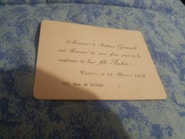Faire-part  Naissance Madame Monsieur Gounard Naissance De Leur Fille Andree Paris 12 Mars 1904 174 Rue De Crimée - Birth & Baptism