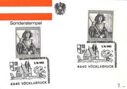 [513679]B/TB//-Autriche 1983 - Vöcklabruck, Célébrités, Armoiries, Eglises Et Cathédrale, Végétaux, Arbres - Kirchen U. Kathedralen