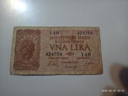 1 Banconota Biglietto Di Stato UNA LIRA Italy ITALIA 1944 Ministero Tesoro 8x4 Cm - [ 1] …-1946 : Royaume