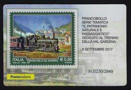 """2017 ITALIA REPUBBLICA """"TRENINO VAL GARDENA"""" TESSERA FILATELICA - 6. 1946-.. Republic"""