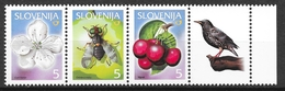 Slovenia 2000 MiNr. 313 - 315  Slowenien Insects  Plants Fruits Birds 3v MNH** 0.50 € - Altri