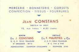 Mercerie Bonneterie Corsets Confection Tissus Fourrures Jean CONSTANS  Docteur En Droit 15 Rue Timbal ALBI  RV - Albi