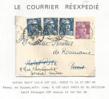GANDON 10FR MIGNONNETTE PARIS 27 DEC 1948 REEXPEDIEE PRINCE ROUMANIE EN SUISSE AVEC GANDON 5FR BLEU X3 - 1945-54 Marianne De Gandon
