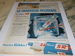 ANCIENNE PUBLICITE FRAICHEUR PICOTANTE  DENTIFRICE GIBBS SR  1960 - Perfumes & Belleza