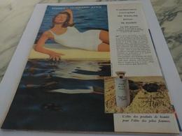 ANCIENNE PUBLICITE BEAUTE POUR LE SOLEIL  HARRIET HUBBARD AYER 1960 - Parfums & Beauté