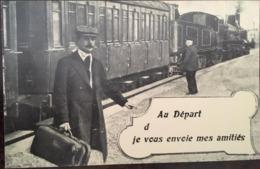 Série En 1900 - Reproduction - Train Et Locomotive - Au Départ De... Je Vous Envoie Mes Amitiés, éd Euredis Marseille - Andere