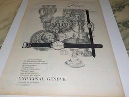 ANCIENNE PUBLICITE RARE  MONTRE UNIVERSAL GENEVE 1960 - Jewels & Clocks