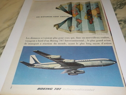 ANCIENNE PUBLICITE DISTANCES ABOLIES  AVION BOEING 707     1960 - Aviation Commerciale