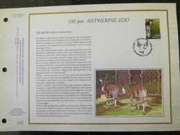 """BELG.1992 2486 : """"150 JAAR ANTWERPSE ZOO ,DE OKAPI """" Filatelistische Kaart Zijde NL.(CEF), Gelimiteerde Oplage - FDC"""
