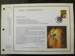 """BELG.1992 2487 : """"150 JAAR ANTWERPSE ZOO ,HET LEEUWEAAPJE """" Filatelistische Kaart Zijde NL.(CEF), Gelimiteerde Oplage - FDC"""