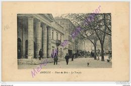30. ANDUZE . Place De Brie . Le Temple .  CPA Animée . - Anduze