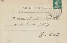 Marcophilie Cachet Jour De L' An Marseille 1908 1er Janvier Sur Carte Voiliers Dans Le Vieux Port - Marcophilie (Lettres)