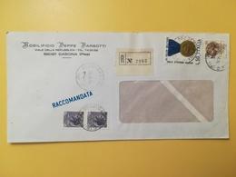 1974 BUSTA INTESTATA RACCOMANDATA ITALIA ITALY BOLLO MEDAGLIE ANNULLO OBLITERE' CASCINA - 6. 1946-.. Republik