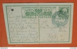 ÖSTERREICH Franz Josef 5 H + SST Jagdausstellung 1910 - AK:Kaiser Als Wanderer? Ganzsache Brief Postcard (2 Foto)(60634) - Ganzsachen