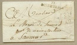 71 / BONNETABLE (35x9) En Franchise Pour Saumur En 1821 - 1801-1848: Precursors XIX