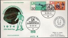 FOOT - L15 - ALLEMAGNE N° 657/58 Coupe Du Monde De Football 1974 Sur FDC Avec Cachet Du Conseil De L'Europe - [7] République Fédérale