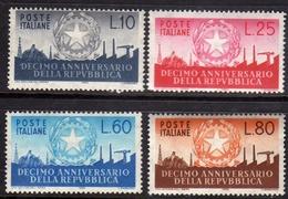 ITALIA REPUBBLICA ITALY REPUBLIC 1956 ANNIVERSARIO DELLA REPUBBLICA ANNIVERSARY SERIE COMPLETA FULL SET MNH - 1946-60: Neufs