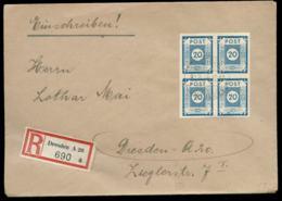 15015 SBZ 4er Block 20 Pfg R - Brief Dresden 31.3.1946 - Soviet Zone