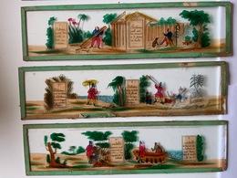 Plaques De Verre Peintes Pour Lanternes Magiques / Robinson Crusoé /Histoire Complète En 6 Plaques - Autres Collections