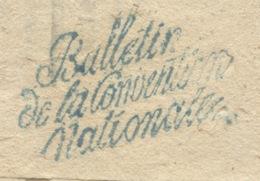 BULLETIN / DE LA CONVENTION / NATIONALE  (bleu) Sur Bulletin Complet Sans La Bande D'envoi En 1795 - 1701-1800: Precursori XVIII