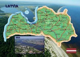 Latvia Country Map New Postcard Lettland Landkarte AK - Letonia