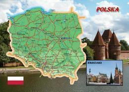 Poland Country Map New Postcard Polen Landkarte AK - Polonia