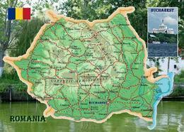 Romania Country Map New Postcard Rumänien Landkarte AK - Rumania