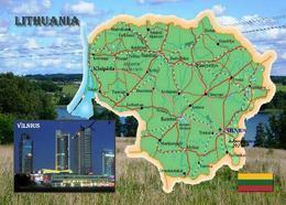 Lithuania Country Map New Postcard Litauen Landkarte AK - Lituania