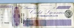 St Germain En Laye - Chèque Du Crédit Lyonnais En 1920 - Cheques & Traveler's Cheques