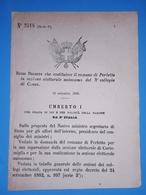 Decreto Regno Italia - Costituzione Comune Di Perletto In Sezione Di Cuneo 1885 - Vieux Papiers