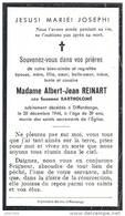 DIFFERDANGE ..-- Mme Susanne BARTHOLOME , épouse De Mr Albert REINART , Née En 1905 , Décédée En 1944 à DIFFERDANGE . . - Differdingen