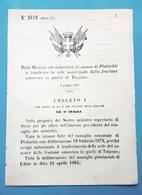 Decreto Regno Italia - Autorizza Platischis A Trasferire La Sede Di Taipana 1884 - Non Classificati