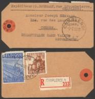 Belgique 1950 - Etiquette Colis Recommandé Charleroi Vers Chenée - Echantillon - 1948 Export