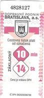 Bratislava - One Way Ticket / Billet - 2005 - Tram