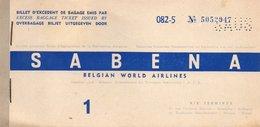 Billet D'excedent De Bagage Emis Par SABENA BELGIAN WORLD AIRLINES - 11 JANVIER 1959. - Billets D'embarquement D'avion