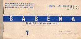 Billet D'excedent De Bagage Emis Par SABENA BELGIAN WORLD AIRLINES - 11 JANVIER 1959. - Monde