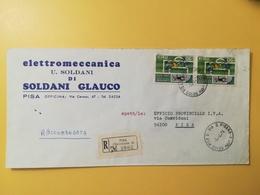 1974 BUSTA INTESTATA RACCOMANDATA ITALIA ITALY BOLLO FIGC CALCIO ANNULLO OBLITERE'  PISA - 1971-80: Storia Postale
