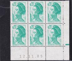 YT N ° 2181 ** - Liberté 0,20 émeraude  CD 12/11/85 Avec RE - 1980-1989