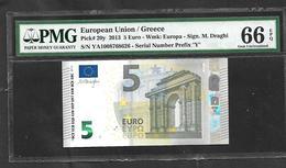 "GREECE: ""Y"" 5 EURO Draghi Signature PCGS 66PPQ  GEM UNC!! (Exceptional Paper Quality-EPQ)! Printer Y001I1 - 5 Euro"