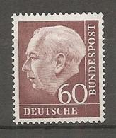 BDP - Yv. N° 71B Mi N° 190x  ** MNH 60p T. Heuss  Cote 60 Euro TBE  2 Scans - Unused Stamps